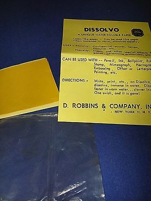 DISSOLVO SPY PAPER WATER SOLUBLE PAPER SECURITY PAPER MAGIC TRICKS Collectibles:Fantasy, Mythical & Magic:Magic:Tricks www.internetauctionservicesllc.com $12.99