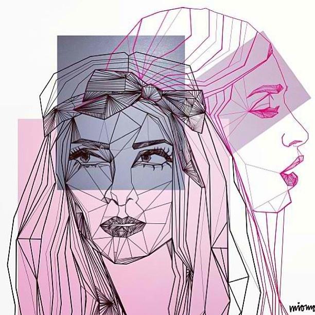 Artwork by Mio Sallanto #rebeccafiona #djs #female_djs #EDM #music #electronicmusic #housemusic #art #illustration #geometric #Miomo #Mio_Sallanto #painting