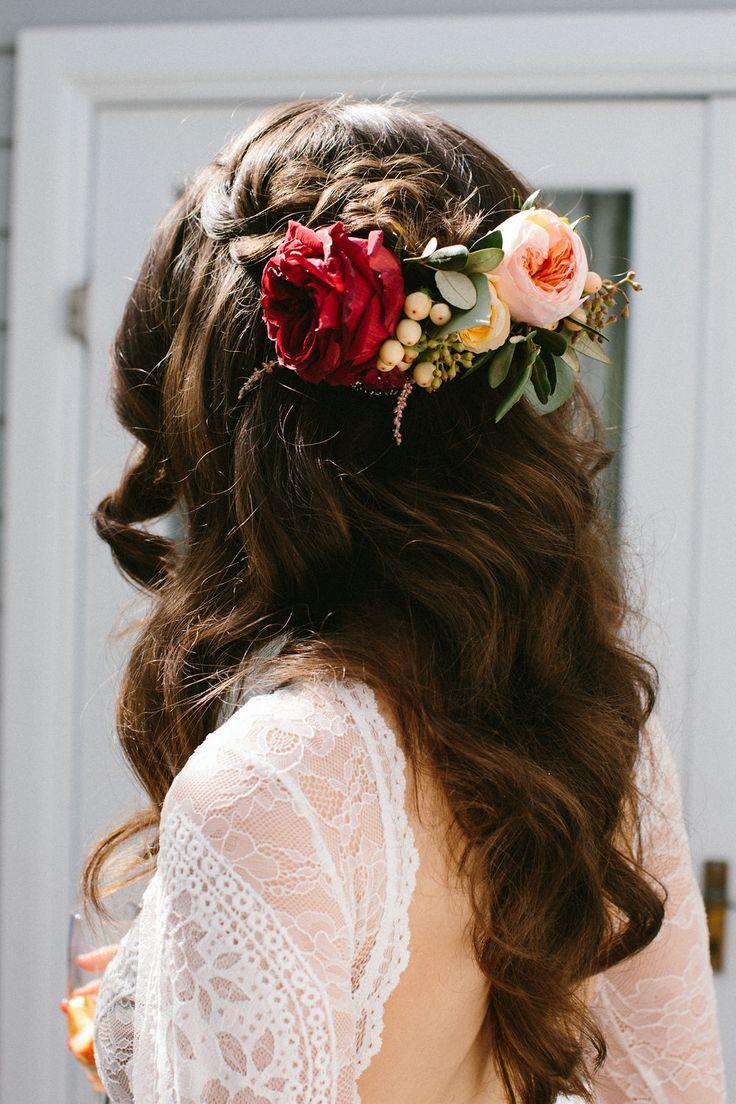 Half up bridal hair styling.