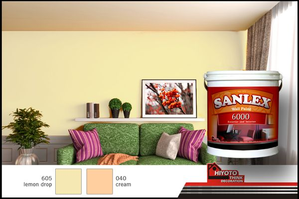 Warm, fun, yet classy, are what these colors offer. Lemon Drop and Cream from SANLEX 6000 are a perfect couple for your home living room interior design. #HiyotoIdea #homedesign #housedesign #homedecor #housedecor #interiordesign #livingroom #wallpaint