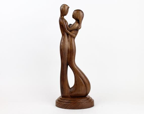 Carved Wood Family Figurine Minimalistic Sculpture Table Etsy Wood Statues Wooden Sculpture Wooden Statues