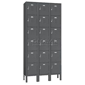 6 tier, 3 wide, 12X15X12, 18 doors ready to assemble gray steel lockers.