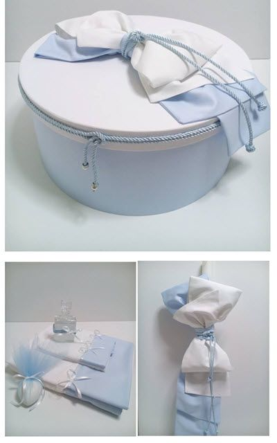 Christening Box - Round Size - 44x20 cm Baby Blue plain  base with plain white lid - Cotton Fabrics  .