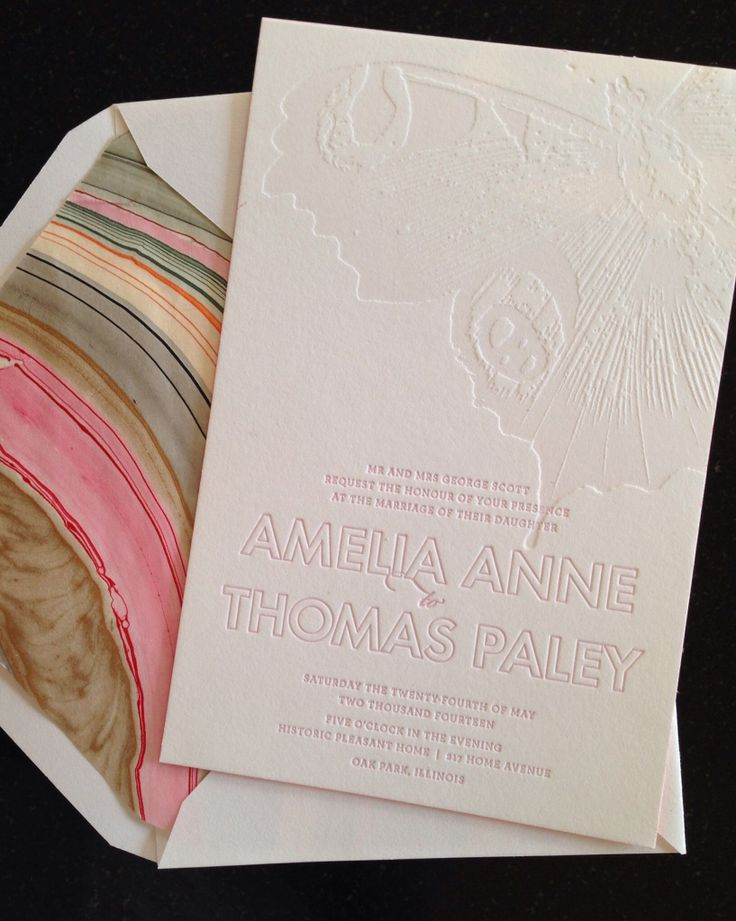 A beautiful letterpress butterfly sets the tone for this unique wedding invitation. Color edging and pink swirl marble backing and matching envelope liner accompany a sweet accordion reply card & precious brunch invitation... All from postscriptpaper.com