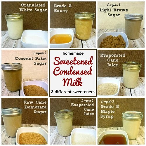 Homemade Sweetened Condensed Milk with 8 Different Sweeteners