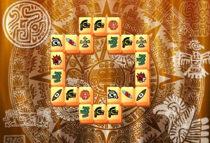 Im Aztec Mahjong Online Spiele Sie müssen identische Steine entlang der Kanten zu entfernen