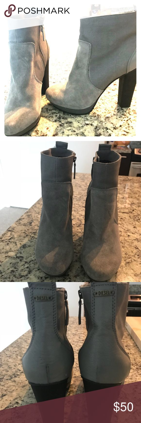 "Diesel Heeled Gray Booties Excellent condition gray suede booties with 5"" heel. Really comfortable and great for fall and winter! Diesel Shoes Ankle Boots & Booties"