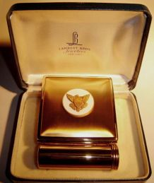 Rare! Vintage Powder Compact & Lipstick Made in USA 1804 Eagle Dollar - Lambert Bros. Jewellers NEW YORK