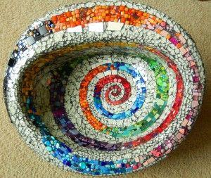 Mixed media mosaic birdbath from an old sink