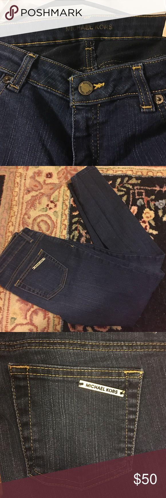 😱Michael Kors beautiful Dark Wash skinny jeans 4 Michael Kors!! Gorgeous dark blue denim almost an indigo color. Only been worn 3 total times. Purchased about a year ago. Size 4 runs a little bit small imo but still has a good stretch Michael Kors Jeans Skinny