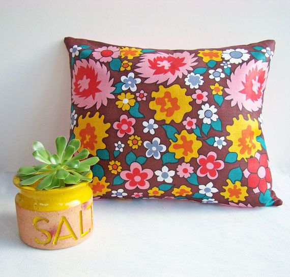 Funky Cushion Cover in Vibrant Colours, Retro Pillow,  Bright and Colorful