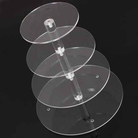Round Acrylic 4 Tier Cupcake Cake Stand for Birthday Wedding Party Cake Shop Home