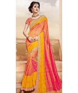 Dynamic Orange And Yellow Silk Designer Saree.