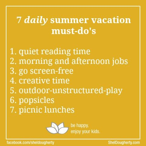 7 Daily Must-Do's During Summer Vacation | Shel Dougherty #parenting #summer vacation #kids #children