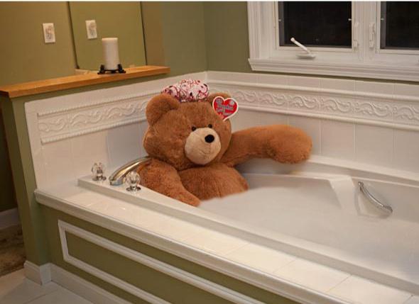 Big Hunka Love Bear Taking A Bath.