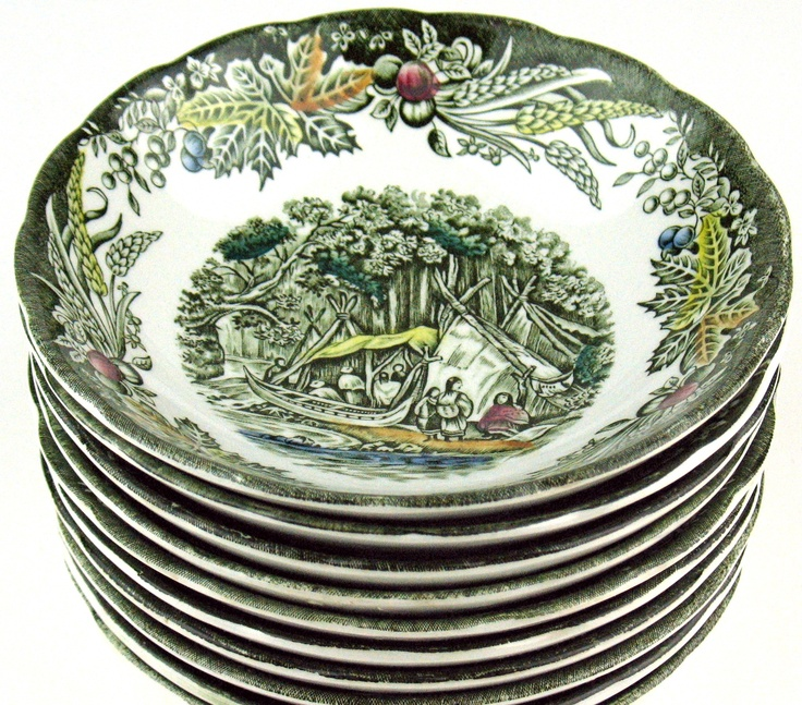 """Heritage pattern by Ridgway Pottery - Dessert bowl - 5 1/4"""" - Wigwam in the Forest"""