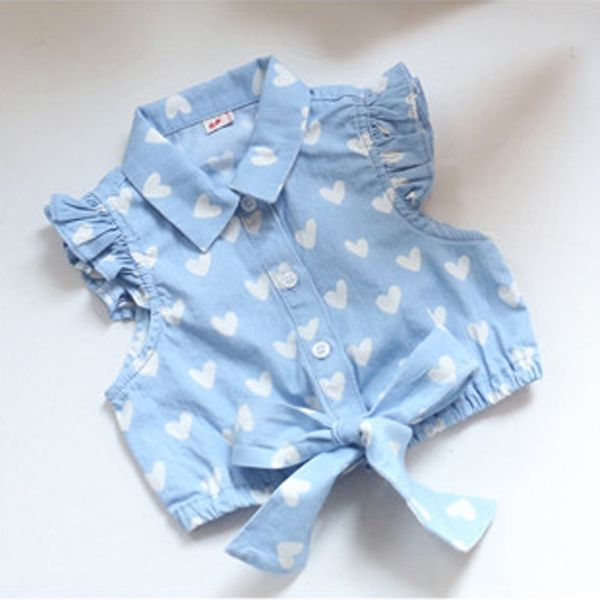 Kids Girls Heart Print Tops Bow T Shirts Ruffled Sleeve Cowboy Vest 2-7Years