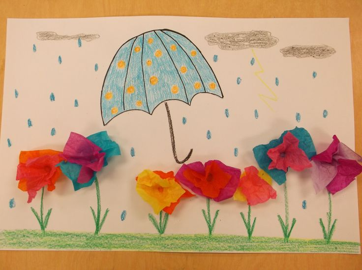 "April Showers Bring May Flowers Art Lesson Plan: Kindergarten drew an umbrella on small paper (Make a ""C"" shape, add small curved lines, color and outline with marker and cut out). Create tissue paper flowers with small squares of tissue paper (pick 2 colors, wrap around end of pencil, dot with glue, and stick to paper). Add extra details: grass, stems, clouds, handle for umbrella, rain."