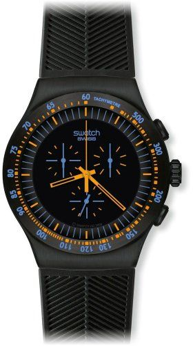 Amazon.com: Swatch Men's YOB104 Stainless Steel Black Dial Chronograph Watch: Watches