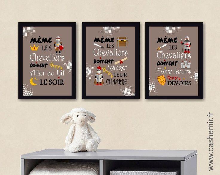 Affiche éducative chambre enfant décoration murale pour chambre denfant garçon poster illustration chevalier