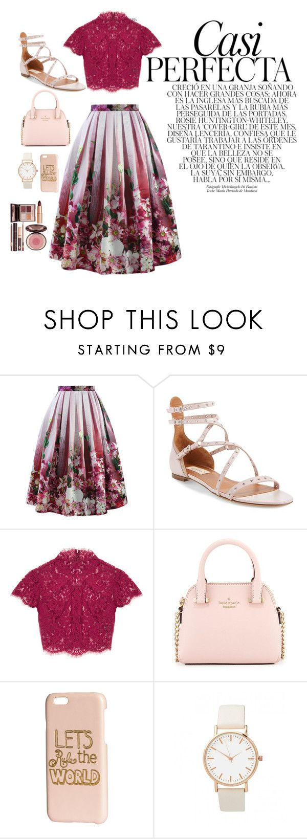 """""""Untitled #141"""" by victoriaam99 ❤ liked on Polyvore featuring Chicwish, Whiteley, Valentino, Kate Spade, H&M and Charlotte Tilbury"""