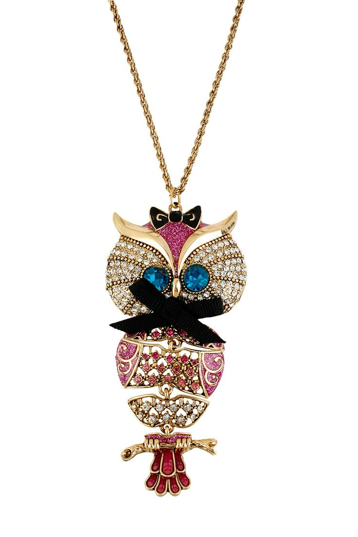 241 best owl jewelry images on pinterest owls owl jewelry and jewerly large owl pendant long necklace by betsey johnson on aloadofball