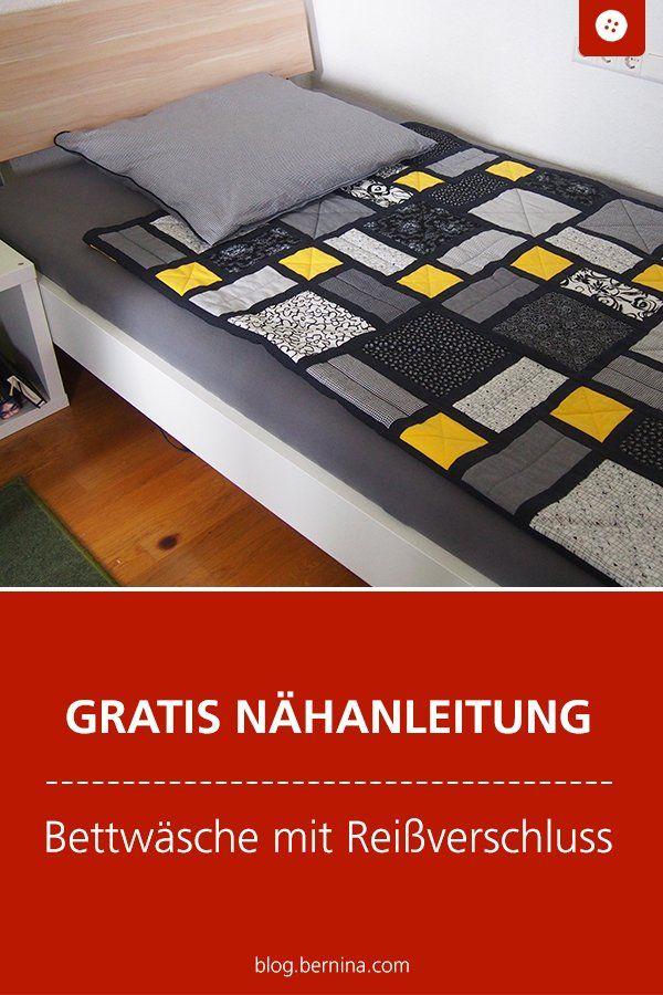 Bettwäsche mit einem Reißverschluss und Wäscheschieber nähen