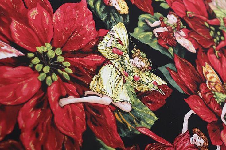 140X100 см 50 s Старинные Рождественские Цветочные Феи Хлопок Поплин Ткани для Платья Швейные Patchwork DIY AF088 купить на AliExpress
