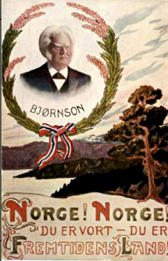 Patriotisk kort Bjørnstjerne Bjørnson utg C. A. Erichsen brukt 1922