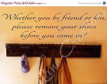 SALE Remove Shoes Decal #3 - Vinyl Remove Shoes Wall Decal - Remove Shoes Sign - Please Remove Shoes - Take Shoes Off Sign - Remove Shoes De