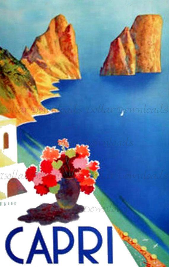 Island of CAPRI  Italy Vintage Travel Poster Digital Image Download  No. 4926 - Buy 3 Get 2 Free