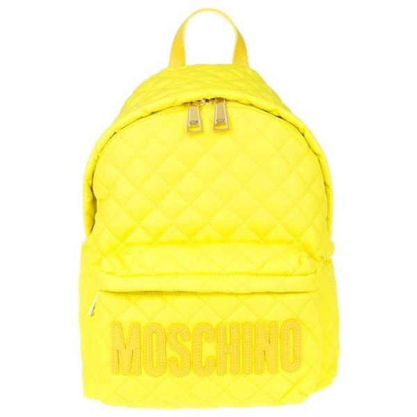 Moschino Quilted Backpack Neon Yellow in yellow, Shoulder Bags ($315) ❤ liked on Polyvore featuring bags, backpacks, yellow, quilted backpack, shoulder bag, yellow backpack, neon yellow bag and day pack backpack