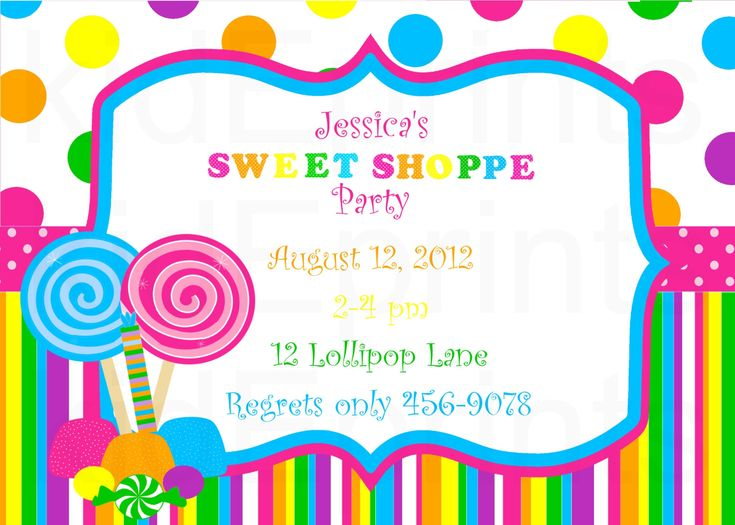 Printable Sweet Shoppe Invite Or Candyland Invites By Kideprints