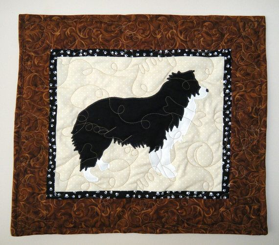 Border Collie Quilted Mini Dog Wall Hanging 17 X 15