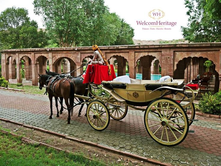 Take a buggy ride in the estate escorted by the Maharaja's own horsemen - #Legend WelcomHeritage Bal Samand Lake Palace