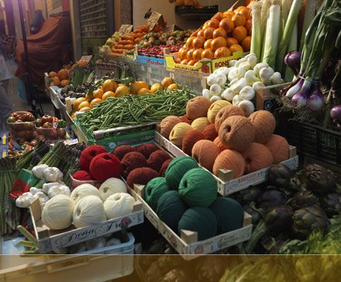 Look close, there's yarn among the produce.