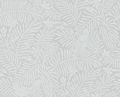 Calico Birds Slate (213732) - Sanderson Wallpapers - A two colour, pretty bird and foliage design based on original Sanderson leatherwork designs, perfect for a subtle all over background on one or four walls. Shown in the slate grey colourway.  Paste the wall. Please request sample for true colour match.