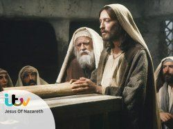 Cyril Cusack and Robert Powell in Jesus of Nazareth (1977)