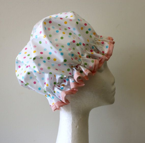 Polka Dot Handmade Vintage Style Shower Cap. PVC FREE. Made by PureHaven on Etsy, $22.99