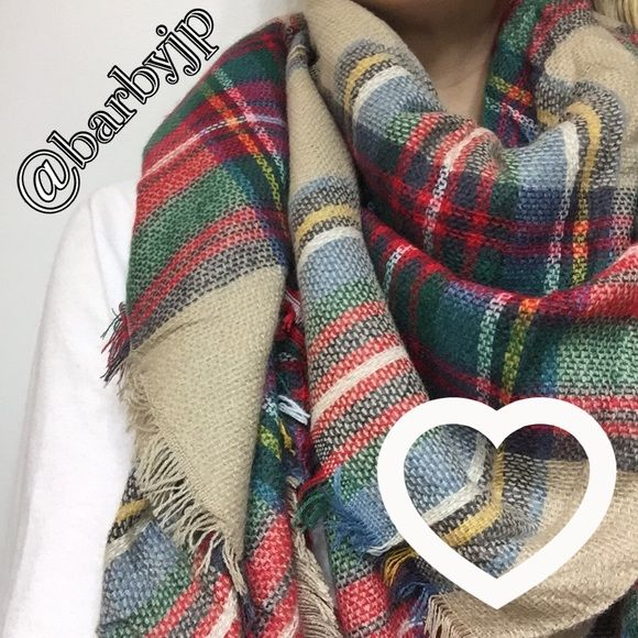 Tartan Blanket Scarf New beautiful tartan blanket scarf! Super soft, 100% acrylic, 55 x 55 inches! Bundle with one of my other blanket scarves for a 10% discount! Comes new in retail plastic packaging! Accessories Scarves & Wraps