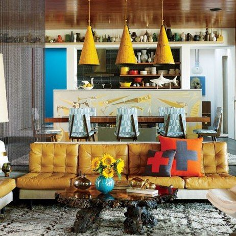 simon doonan's house, shelter island note ball chain curtains which define the living room space (also sunken!)