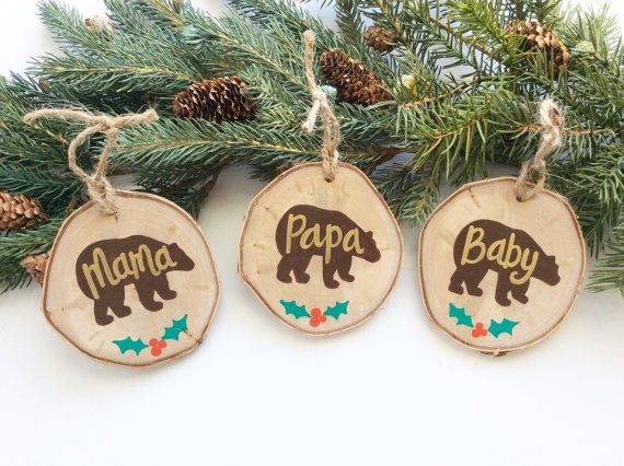 Mama Bear Ornament Wood Slice Ornament Family by AmandaKammarada