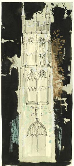 ✦   john piper  -   'st mary magdalene church, chewton mendip'   -  mixed media on paper