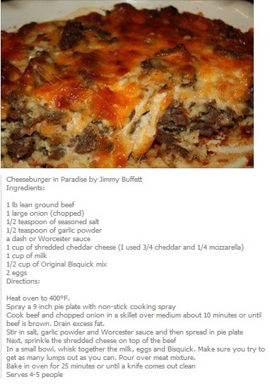 Cheeseburger in paradise good chance to try out a homemade Bisquick recipe