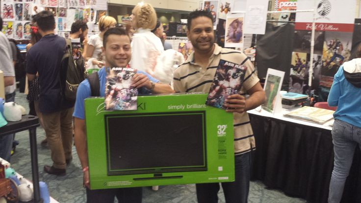 The winner of our Fan Expo Raffle... Mike G. not only liked our comic but the TV he won for purchasing our first issue!