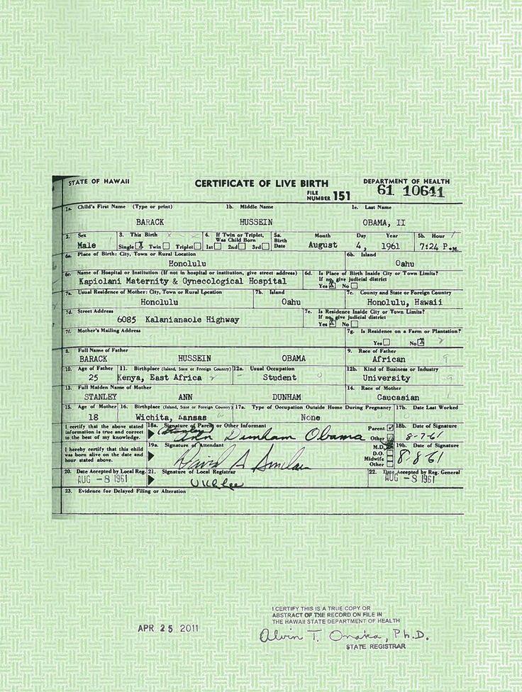 Barack Obama birth certificate registered in Honolulu, Hawaii (August 4, 1961)