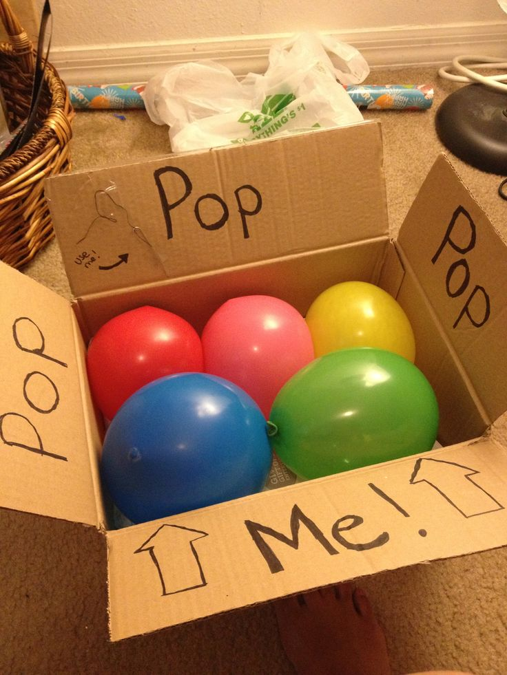 Fun gift wrap for tickets! Basically I just got a cardboard box and balloons from Dollar Tree and then filled the balloons with confetti (before blowing them up!). I placed the tickets I got for my bf's bday in the bottom of the box so he would have to pop the balloons using a needle i attached in the box flap. It was a fun and creative way to unwrap tickets as a present!