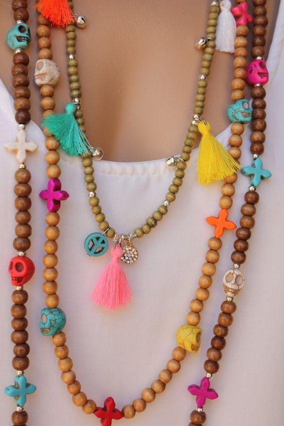 Borla de madera 3 piezas largo estilo Hippie Boho collar