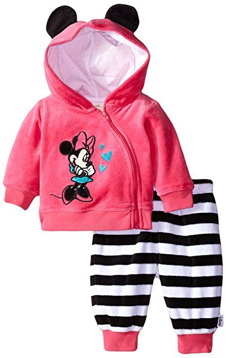 03dbfbf0af80 Amazon.com: Disney Baby Girls' Minnie Mouse Velour Pant Set, Fuchsia/Black,  3-6 Months: Clothing