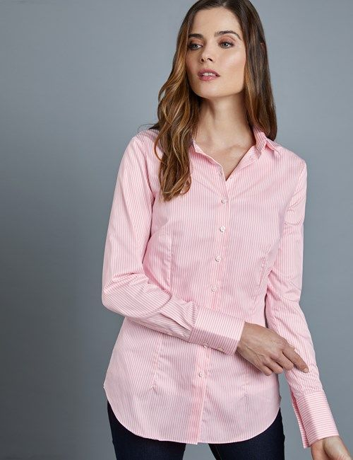 b57a4dd1 Women's Executive Light Pink & White Bengal Stripe Fitted Shirt - Single  Cuff